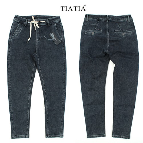 [TIATIA] DARK DENIM POCKET SL 데님스판슬랙스