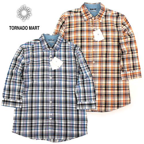 [TORNADO MART/BLUE TORNADO]Check 4/3 Slim Shirts 7부체크셔츠