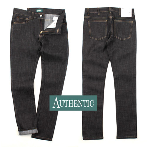 [AUTHENTIC] 2 Stitch Unwashed Denim(Black) 생지데님