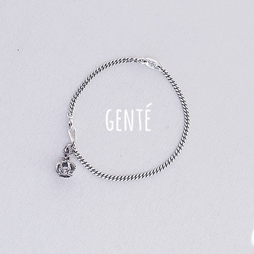 [GENTE] Crown chain Bracelet (ALL SILVER)