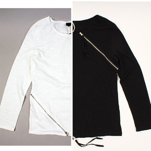 [NO.44] Diagonal ZIP T-shirts 사선지퍼롱슬리브