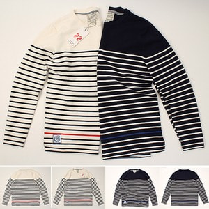 [Club Funny] ONE POINT STRIPE KNIT  스트라이프 니트티