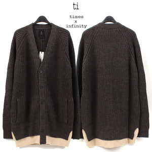 [TI] COLORATION GRAY WOOL CARDIGAN  배색울가디건