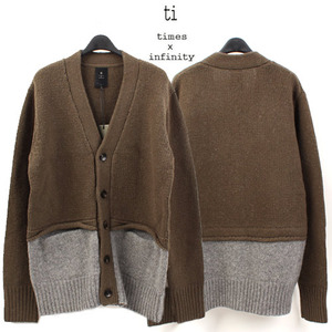 [TI] COLORATION KHAKI WOOL CARDIGAN  배색울가디건