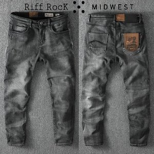 [MIDWEST] RIFF ROCK STONE WASHING BLACK DENIM(안감기모)
