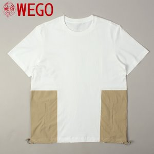 [WEGO] Beige Side Pocket White Tee 사이드포켓티
