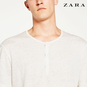 [ZARA] 3-button linen t shirt