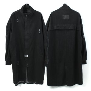 [Dark Monster] Black Denim Long Coat 데님롱야상