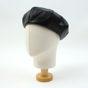 [UNIVERSAL CHEMISTRY] Simple Leather Black Beret 유니버셜케미스트리 가죽베레모