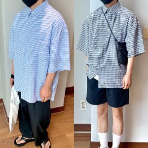[THEJOON] Washing Overfit Check Shirts 워싱체크셔츠