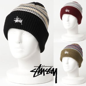 [STUSSY] Striped Cuff Beanie (3 Colors)