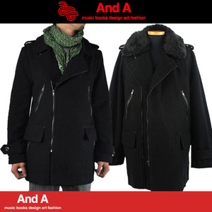 [AND A homme]Rider Fur Long Coat/앤드에이/라이더롱코트