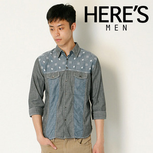 [HERE'S STREET]Print Denim 4/3 Shirts 프린트데님7부셔츠