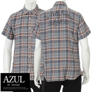 [AZUL/STOOGE&CO]PRINT CHECK SHORT SHIRTS 아줄 프린트체크셔츠