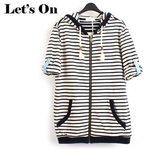 [Let's On]Stripe Hood Zip-Up 스트라이프7부 후드집업