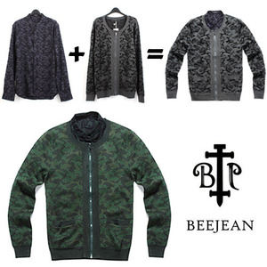 [BEEJEAN]Camo Layered Shirts Cardigan 비진 카모셔츠+가디건