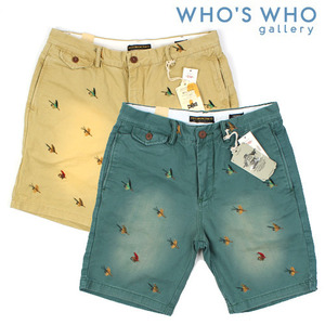 [WHO'S WHO]Bird Embo Short Pants 후즈후 자수반바지