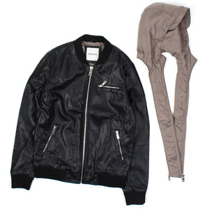 [WILSONS STAR] Layered Hood Leather Jumper 후드가죽점퍼(후드탈부착가능)