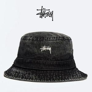 [STUSSY] Washed Denim Bucket Hat
