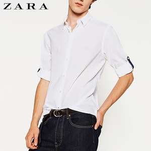 [ZARA MAN] CHAMBRAY SHIRT WITH ROLLED TAB SHIRTS