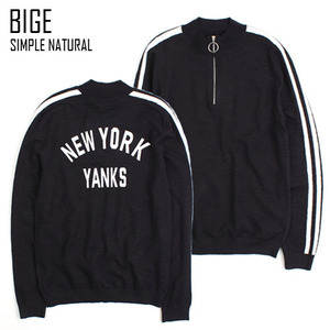 [BIGE HOMME] YANKS LINE ZIP KNIT 라인지퍼니트