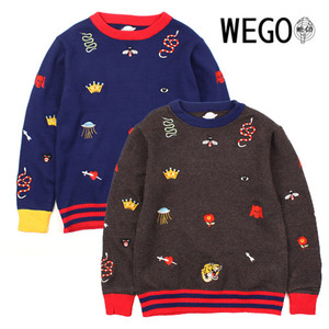 [WEGO] Embo Color Knit 자수니트