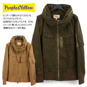 [PURPLE AND YELLOW]Volume Neck Millitary Jumper  볼륨넥 밀리터리야상