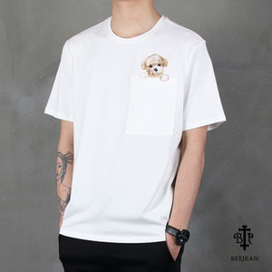 [BEEJEAN] POCKET PUPPY EMBO S/S Tee 비진 포켓퍼피