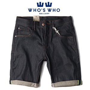 [WHO'S WHO] Yellow Tab Short Denim 후즈후 옐로우탭숏데님