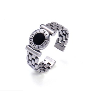 [GENTE] TIME ONYX SILVER RING